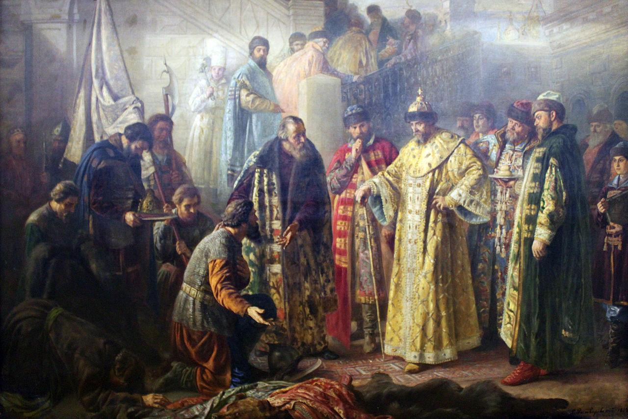 Посланники Ермака на крас крыльце перед И4. Ростворовский С.Р.,1884