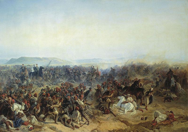 Ф. И. Байков (1818—1890). «Сражение при селении Кюрюк-Дара в окрестностях крепости Карс 24 июля 1854 года». 1854.
