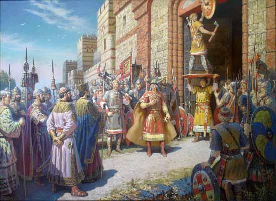 10. Олег прибивает щит на воротах Царьграда